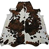 Real South American Cowhide Rug Tri-colour Brown, Black & White