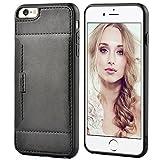 iPhone 6s plus Tasche, ZVE iphone 6 plus Lerderhülle Case Cover Slim-Schutzhülle Tasche mit Karten-/Geldscheinfach, für iphone 6 plus iphone 6s plus Rückschale schwarz (5,5 Zoll)