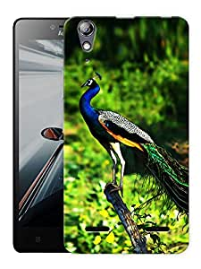"Humor Gang Peacock In Jungle Printed Designer Mobile Back Cover For ""Lenovo A6000 - A6000 PLUS"" (3D, Matte, Premium Quality Snap On Case)"