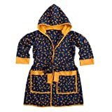 Child Moons And Stars Cotton Jersey Batik Robe For Boys And Girls Blue With Yellow Moon And Stars By Back From Bali