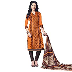 Trendy Orange and Brown Coloured Embroidered Unstitched Glace Cotton Dress Material With Dupatta