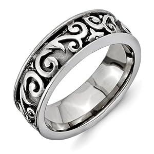 Titanium Grey Domed Lattice 8.0mm Band Ring - Size V 1/2 - JewelryWeb