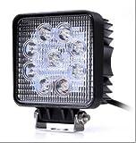 27W LEDワークライト作業灯 汎用作業灯 12v/24v対応  自動車 9LED 27W  角型【広角タイプ】