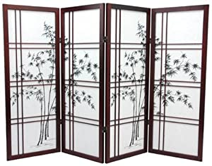 Oriental Furniture Asian, 48-Inch Low Double Cross Bamboo Tree Shoji Screen Room Divider, Chrerry Rosewood 4 Panel