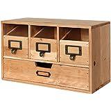 Rustic Desktop Wooden Office Organizer Drawers / Craft Supplies Holder Storage Cabinet, Brown - MyGift