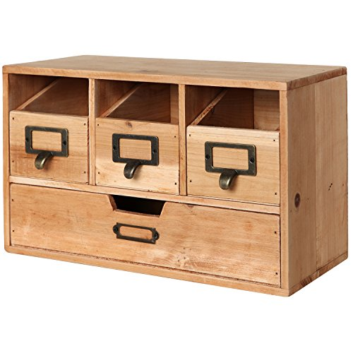 Rustic desktop wooden office organizer drawers craft