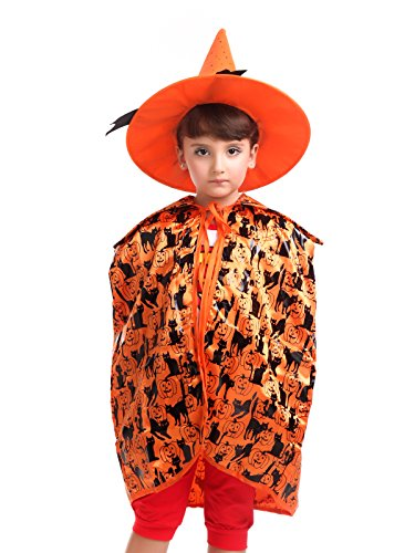 MAGIC TOWN Kids' Halloween Festival Cosplay Witch Hat and Cloak (height:43-55)