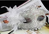 White Lace with Rhinestone Liles Venetian Mask Masquerade Halloween Costume from Y2B