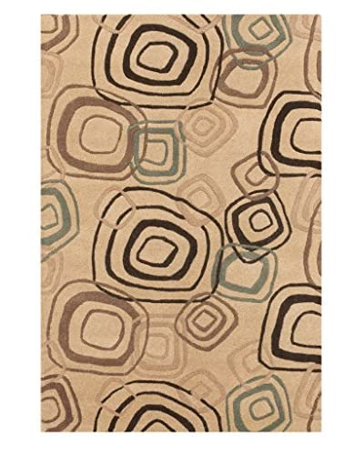 Oak Rugs Hand-Made Lattice Wool Rug, Khaki, 4' x 6'