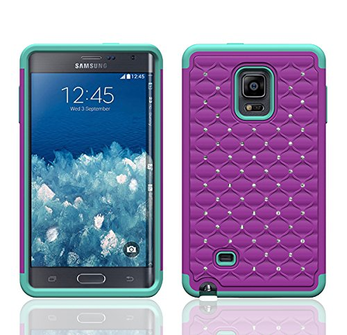 Galaxy Wireless Dual Layer Diamond Hybrid Skin Case For Samsung Galaxy Note Edge (At&T, Verizon, T-Mobile & Sprint) (Purple On Teal Diamond Hybrid)