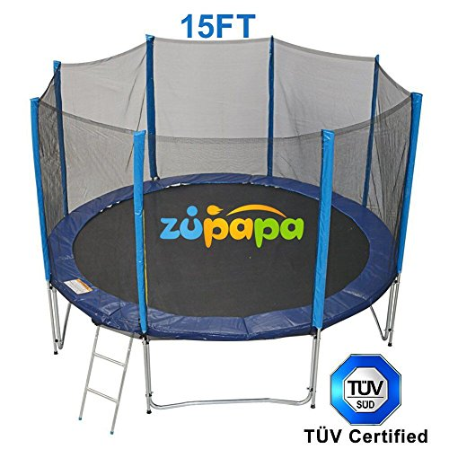 3rd-Anniversary-Sale-Zupapa-TUV-Approved-15-FT-Round-Trampoline-Combo-Set-with-Safety-Enclosure-and-Pole-Ladder-Jumping-Mat-Spring-pad-Pull-T-hook