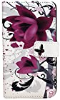 myLife White and Magenta {Graffiti Flowers Design} Faux Leather (Card, Cash and ID Holder + Magnetic Closing) Slim Wallet for Galaxy Note 3 Smartphone by Samsung (External Textured Synthetic Leather with Magnetic Clip + Internal Secure Snap In Closure Hard Rubberized Bumper Holder)