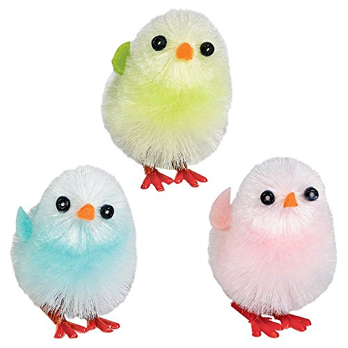Easter Chenille Multicolor Plush Chicks (6 Pack)