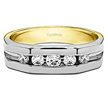 buy Channel Set Open Ended Men'S Ring With 0.51 Cts Of Diamonds In 14K Two Tone Gold