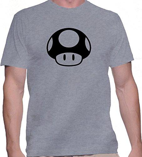 T-shirt da uomo con Toad logo di super mario con illustrazioni a stampa. Girocollo. XX-Large, Grigio