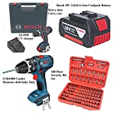 BOSCH 18V LITHIUM COMBI HAMMER DRILL COMPLETE KIT X1 18V CORDLESS 4.0ah COOLPACK LITHIUM BATTERY  FAST CHARGER,HEAVY DUTY CASE & BONUS 100 PIECE SECURITY BIT SET IN CASE