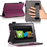 MoKo(TM) Slim-fit Folio Cover Case For Amazon Kindle Fire HD 7 Inch Tablet Purple (with Automatic Wake/Sleep Function...