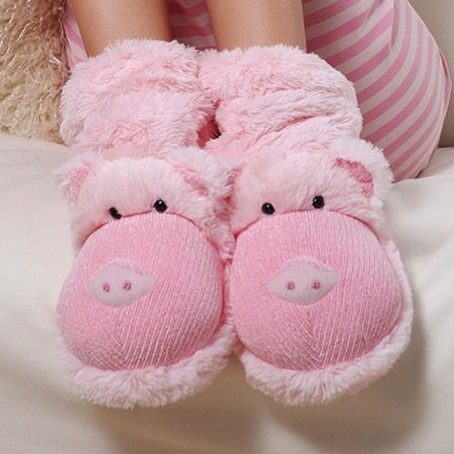 Aroma Home Fun For Feet Slippers Socks Pink Pigs