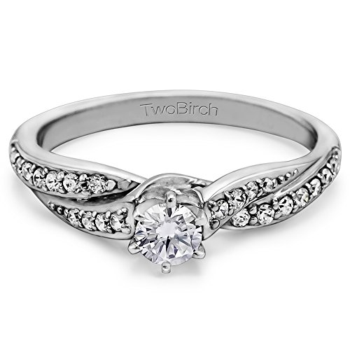0 5 ct cz twisted shank promise ring in silver 1 2 ct