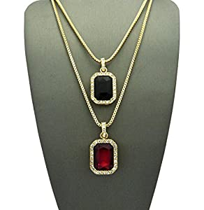 Set of Pave Faux Onyx & Faux Ruby Stone Pendant w/ 2mm 24