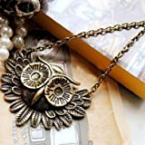 Chopmall(R) Vintage Owl Necklace Long Pattern Necklace Coat Chain, Gift Idea, Gift Box Included