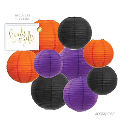 Andaz Press Hanging Paper Lantern Party Decor Trio Kit with Free Party Sign, Black, Orange, Purple, 12-Pack, For Halloween Classroom Home Office Dorm Room (Black And Orange Party Decorations)