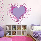 Decal Style Love Floral Wall Sticker Large Size- 28*28 Inch Color - Multicolor