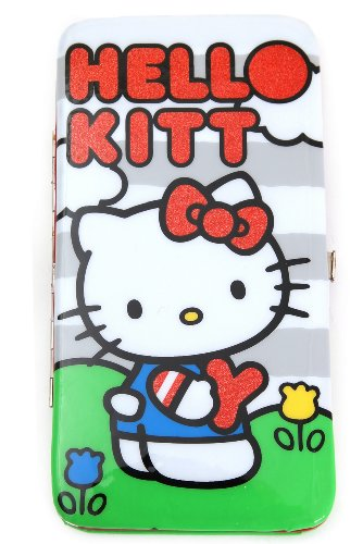 Hello Kitty Grey Stripe Glitter Hinge Wallet