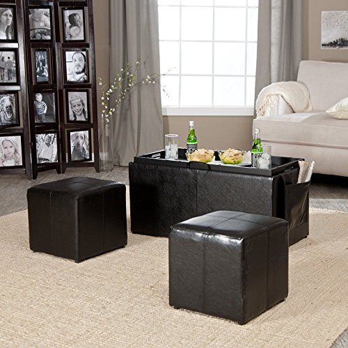 Hartley Coffee Table Storage Ottoman with Tray - Side Ottomans & Side Pocket (Cocktail Ottoman Tray compare prices)