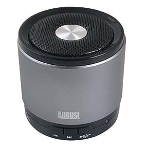 August MS425 Haut-Parleur Bluetooth 4.0 Portable avec Microphone - Enceinte Sans-Fil Puissant et Kit Main-Libre - Compatible avec iPhones, Smartphones Android, PC - Argent