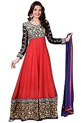 Red & Black color Georgette Anarkali suit.