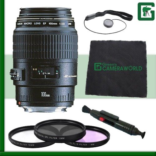 Canon EF 100mm f/2.8 Macro USM Lens for Canon DSLR Cameras Green's Camera Bundle 2