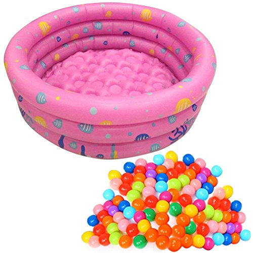 TrendBox 200 Ocean Ball + 1 Pink 80cm Inflatable Round Swimming Pool Ball Pit For Baby Children Kids Outdoor Garden Parties (Ship From USA)