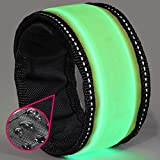 LED Slap Bracelet - Glow Band by GlowHERO -- Sweat Resistant High Visibility Safety Wristband - Replaceable Battery - Reflective Stitching - Fits Women, Men & Kids