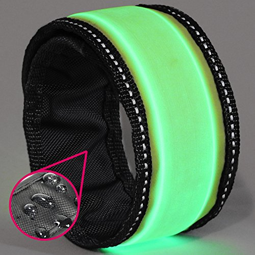 LED Slap Bracelet - Glow BAND by GlowHERO - Sweat Proof - Ultra Bright - High Visibility Safety Wristband - Replaceable Battery - Reflective Stitching - Fits Women, Men & Kids (Neon Yellow / Green) (Green Fuel Tabs compare prices)