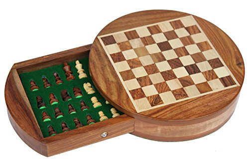 "SouvNear 7"" Inch Round Wooden Mini Travel Chess Set Game with Magnetic Chess Pieces and a Flat Chess Board with Storage Drawer in Solid Hard Rosewood - Handmade Wooden Traveling and Indoor Family Board Games and Gifts"