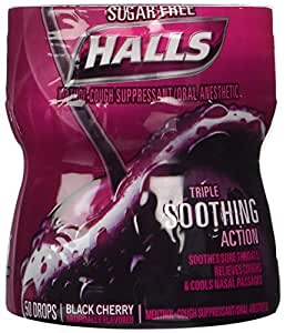 halls sugar free triple soothing action drops black cherry 4 count health. Black Bedroom Furniture Sets. Home Design Ideas