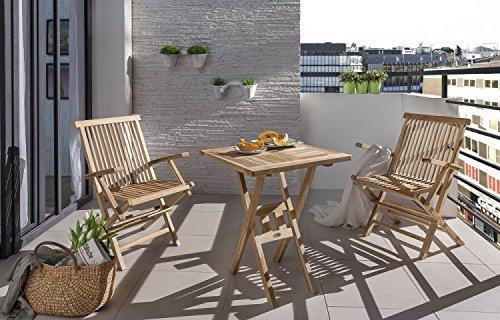 SAM® Teak-Holz Balkongruppe, Gartengruppe, Gartenmöbel 3tlg. Square, bestehend aus 2 x Klappstuhl + 1 x Tisch, zusammenklappbar, leicht zu verstauen günstig kaufen