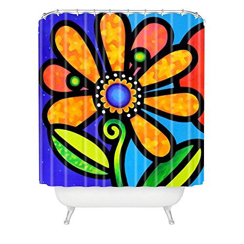 Deny Designs Steven Scott Cosmic Daisy In Yellow Shower Curtain front-534379