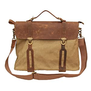 Gootium 30311KA Cotton Canvas Genuine Leather Cross Body Laptop Messenger Bag Business Shoulder Handbag,Khaki
