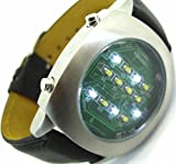 White Binary LED Watch Digital Display With Leather Strap – Limited Edition – Collectors Classic Model