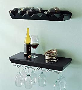 welland espresso wine rack floating wall. Black Bedroom Furniture Sets. Home Design Ideas