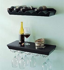 Welland Espresso Wine Rack Floating Wall