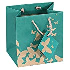 10 pcs Small Green Kraft Shopping Paper Gift Sales Tote Bags with White Butterfly Print 4 x 2.75 x 4.25