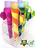 Popsicle Molds - Maker with Attached Cap,Silicone Ice Pop Molds [Set of 6] with Perfect Popsicle Holder - Ice Pop Maker Set