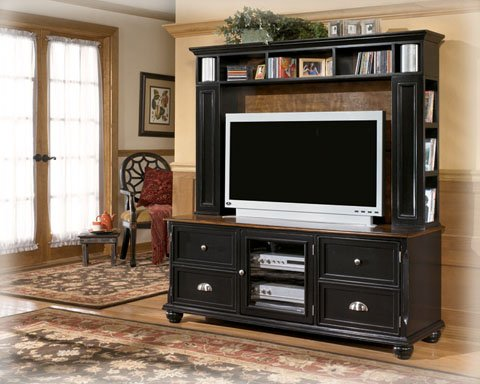 Cheap Black TV Stand with Hutch (ASLYW422-21_W422-21-21H_2PC)