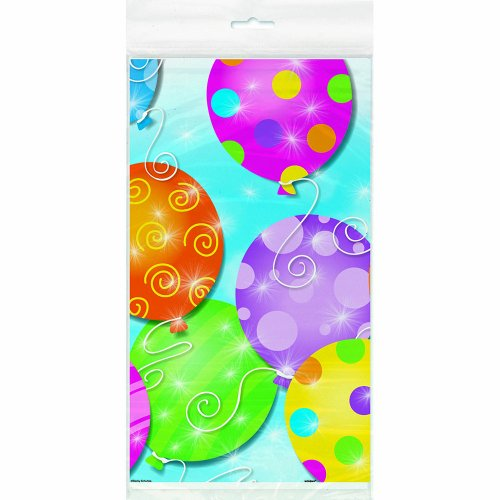 "Twinkle Balloons Plastic Tablecloth, 84"" x 54"" - 1"