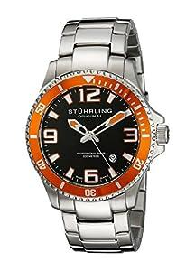 Stuhrling Original Men's 395.33I117 Aquadiver Regatta Champion Professional Diver Swiss Quartz Date Orange Bezel Watch