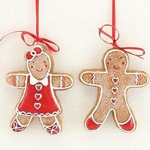 Gisela Graham Mini Gingerbread Man Amp Lady Set Of 2
