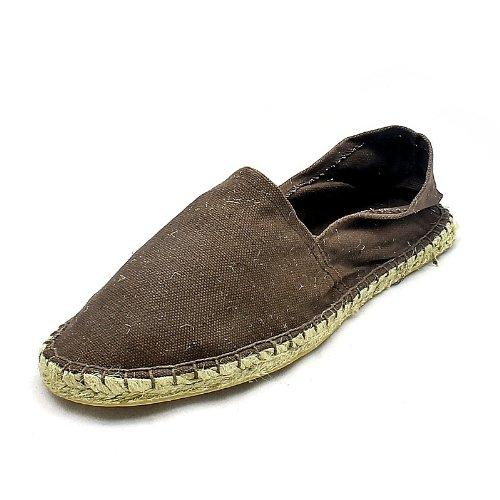 Mens Brown flat canvas espadrilles casual shoes / pumps NEW